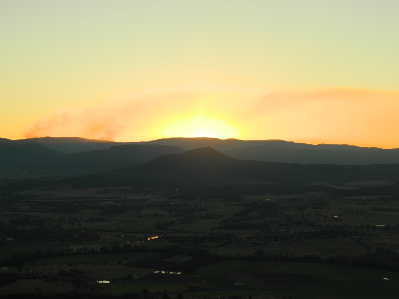 Sunset reflecting off some bushfire smoke